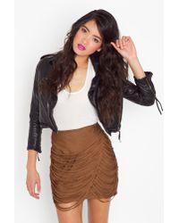 Nasty Gal - Brown Draped Fringe Silk Skirt - Cocoa - Lyst