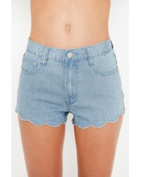 Nasty Gal | Blue Denim Scallop Shorts | Lyst