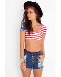 Nasty Gal | Red Kickin The Usa Crop Top | Lyst