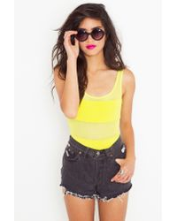 Nasty Gal - Yellow Mesh Stripe Bodysuit  - Lyst