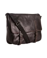Prada - Black Glazed Calfskin Messenger Bag for Men - Lyst