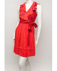 Sonia by Sonia Rykiel - Red Star V-neck Ruffle Dress - Lyst