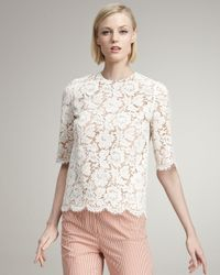 Stella McCartney | White Floral Lace Blouse | Lyst