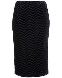 TOPSHOP - Blue Chevron Stripe Burnout Skirt - Lyst