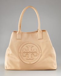 Tory Burch | Natural Stacked Logo Classic Tote Bag | Lyst
