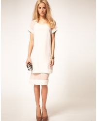 ASOS Collection - White Asos Midi Dress with Sheer Panel - Lyst