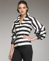 Carolina Herrera | Black Striped Balloon-sleeve Jacket | Lyst
