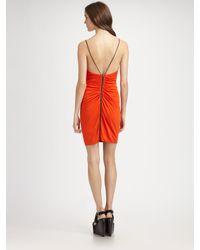Cut25 by Yigal Azrouël - Orange Drape-front Matte Jersey Dress - Lyst