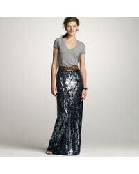 J.Crew | Gray Sequin Long Skirt | Lyst