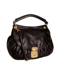 Miu Miu | Black Quilted Leather Matelasse Shoulder Bag | Lyst