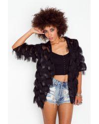 Nasty Gal - Eyelash Fringe Jacket - Black - Lyst