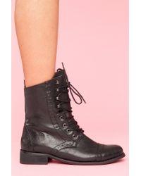 Nasty Gal | Rogue Brogue Boot - Black | Lyst