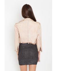 Nasty Gal | Pink Chopped Leather Moto Jacket - Blush | Lyst
