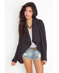 Nasty Gal | Gray Draped Knit Jacket - Charcoal | Lyst