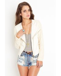 Nasty Gal - Natural Laced Leather Jacket - Cream - Lyst
