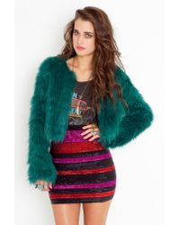Nasty Gal | Green Freya Faux Fur Coat | Lyst