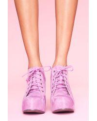 Nasty Gal - Purple 99 Tie Wedge - Lavender Suede - Lyst