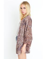 Nasty Gal - Multicolor Leopard Silk Kimono - Lyst
