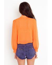 Nasty Gal - Orange Pleated Crop Blouse - Lyst