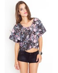 Nasty Gal | Purple Dark Trip Crop Top | Lyst