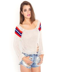 Nasty Gal | Natural Shredded Varsity Sweater | Lyst