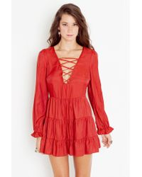 Nasty Gal | Red Tied Up Babydoll Dress - Rust | Lyst