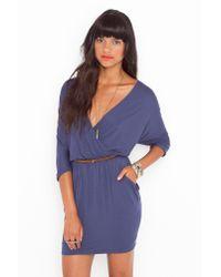 Nasty Gal | Draped Across Dress - Slate Blue | Lyst