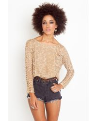 Nasty Gal - Brown Bolinas Crop Knit - Taupe - Lyst