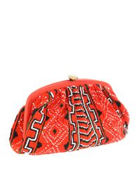 Santi - Red Navoho Tribal Beaded Clutch Bag - Lyst