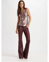 Alice + Olivia | Purple Leather 5pocket Bell Pants | Lyst