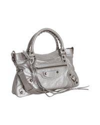 Balenciaga - Metallic Silver Leather First Top Handle Bag - Lyst