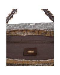 Fendi - Metallic Silver Zucca Shimmer Canvas Chain Shoulder Bag - Lyst