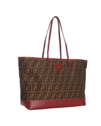 Fendi | Brown Tobacco and Red Zucca Canvas Roll Shopper Tote | Lyst