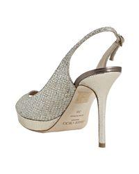Jimmy Choo | Metallic Champagne Glitter Mesh Nova Peep Toe Slingbacks | Lyst