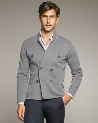 Lanvin   Gray Double-breasted Knit Jacket for Men   Lyst