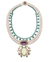 Mawi - Green Double Pearl Strand And Citrine Gemstone Necklace - Lyst