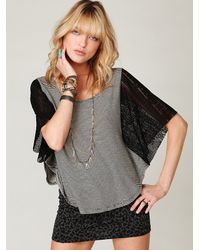 Free People | Black We The Free Striped Lace Sleeve Top | Lyst