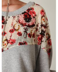 Free People | Gray Lace Inset Pullover Sweatshirt | Lyst