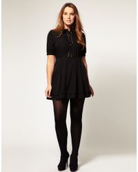 ASOS Collection | Black Asos Curve Collar Dress with Faggotting Trim | Lyst