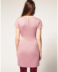 ASOS Collection - Metallic Asos Petite Drop Waisted Lurex Knitted Dress - Lyst