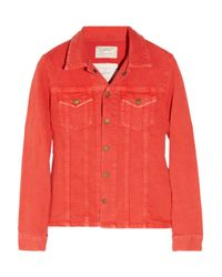 Current/Elliott | Red The Mechanic Stretch-denim Jacket | Lyst