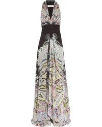 Etro | Gray Printed Silk-chiffon Maxi Dress | Lyst