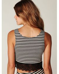 Free People | Black Lace Trim Stripe Crop Top | Lyst
