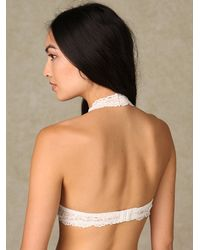 Free People - White Galloon Lace Halter Bralette - Lyst