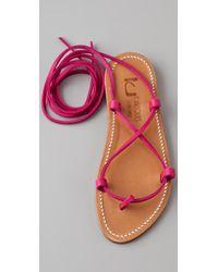 K. Jacques - Pink Bikini Ankle Wrap Sandals - Lyst