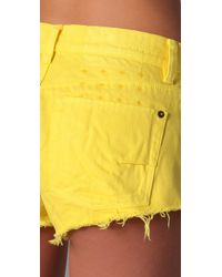 Ksubi - Yellow Alberceque Cut Off Shorts - Lyst