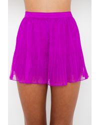Nasty Gal - Purple Mini Pleated Shorts - Lyst