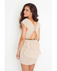 Nasty Gal | Natural Belted Peplum Dress - Nude | Lyst
