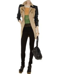 W118 by Walter Baker - Black Milly Cotton and Faux Leather Trench - Lyst