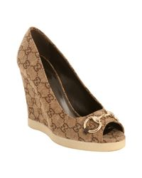 Gucci | Natural Ebony Gg Canvas Charlotte Peep Toe Wedges | Lyst